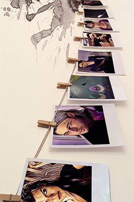 Polaroids of movie characters on a wallPolaroids of movie characters on a wall