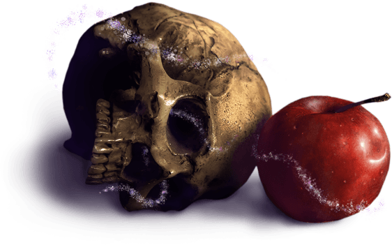 Magical skull and apple