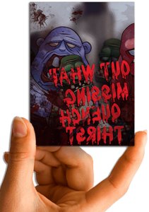 Hand holding zombie puzzle card.