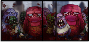Zombies block the escape